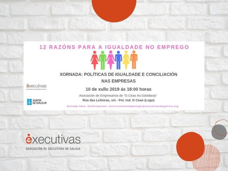 """O programa """"12  Razóns para ou  emprego en  igualdade"""" organiza en Lugo a xornada Políticas de  igualdade e conciliación  na empresa"""